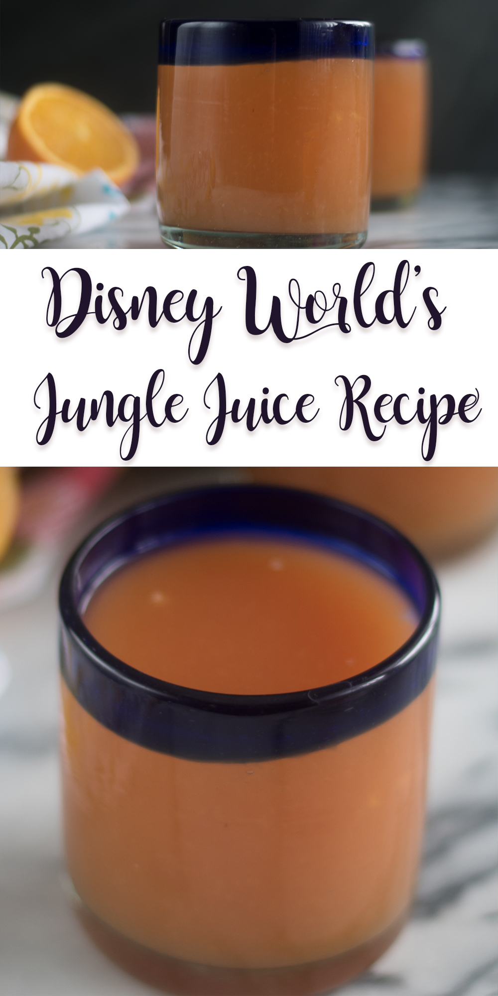 All throughout Disney World's Animal Kingdom Lodge, you will find a delicious fruit juice known as Jungle Juice. It's also known as POG Juice. Bring a little of the Disney magic into your kitchen by recreating Disney's Jungle Juice! #Recipe #Disney #Disneyworld #drink #juice #beverage #fruit #orange #breakfast #brunch #recipe #vegan