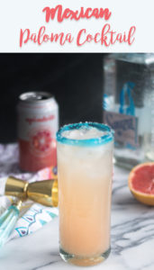 Mexican Paloma Cocktail is a light, refreshing cocktail made with tequila and fresh grapefruit juice. #Mexican #drink #vegan #healthy #cocktail