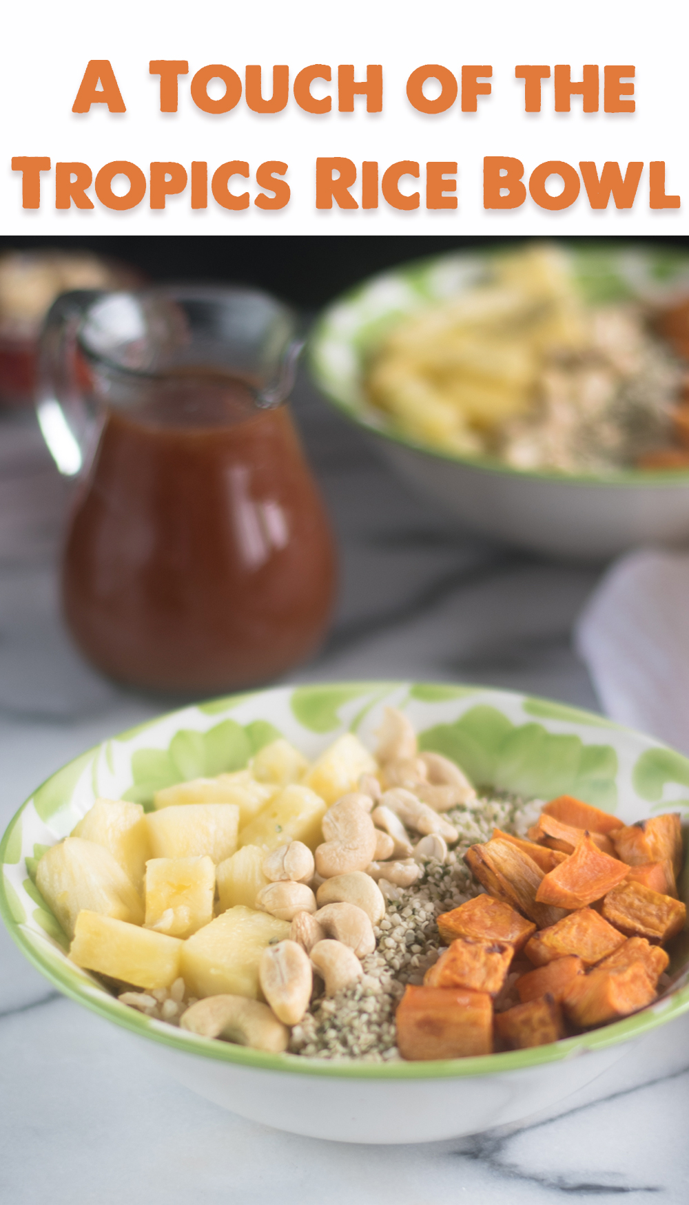 Transport yourself to a tropical island with this A Touch of the Tropics Rice Bowl! You'll definitely feel like you are on a tropical vacation while enjoying this Touch of the Tropics Rice Bowl recipe from The High-Protein Vegan. #vegan #vegetarian #recipes #bowl #rice #sweetpotato #dinner #healthy #healthyrecipes