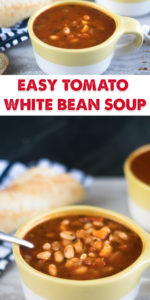 This Easy Tomato and White Bean Soup has a secret ingredient—marinara sauce! Use your favorite marinara sauce. The best part about this soup is that most of the ingredients are pantry staples. #soup #healthyrecipe #vegan #vegetarian #soup #healthyfood #glutenfree