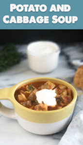 This Potato and Cabbage Soup is a hearty vegan soup recipe that is perfect for the colder months. Fresh herbs and lemon juice elevate the soup and adds tons of flavor to the soup. #vegan #soup #vegetarian #recipe #healthyrecipes #healthy #potato #cabbage