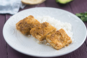 Tomatillo Chipotle Tofu served with rice.