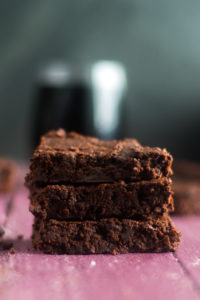 Vegan brownies are infused with red wine. This is a great recipe if you have leftover red wine. #dessert #vegan #wine #brownies