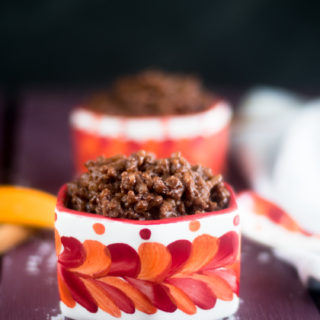 A chocolately twist on traditional arroz con leche. This creamy rice pudding is infused with two types of chocolate. This is great for dessert or a sweet breakfast treat. #vegan #dessert #Mexican #glutenfree #recipes #chocolate #easyrecipes