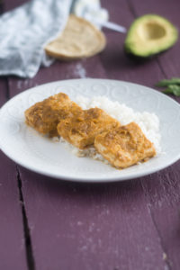 Tomatillo Chipotle Tofu is sweet, spicy, and tart. It is best served over rice with corn tortillas!