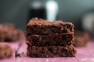 Vegan red wine brownies are rich, chocolatey.