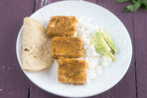 Tofu simmered in a tomatillo chipotle sauce.
