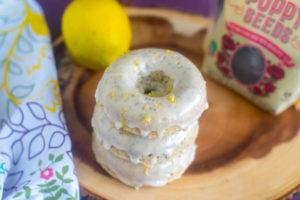 Baked Vegan Lemon Poppy Seed Donuts topped with a lemon glaze. #vegan #breakfast #lemon #donuts #dessert