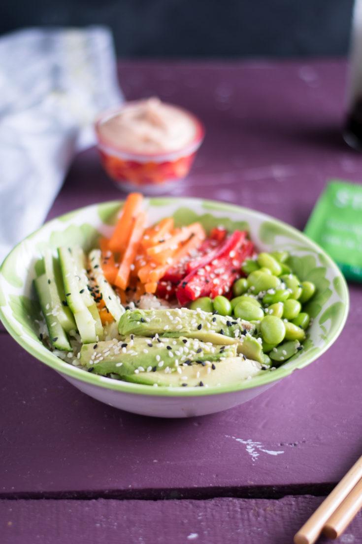 Vegan Sushi Bowl with Green Tea Rice