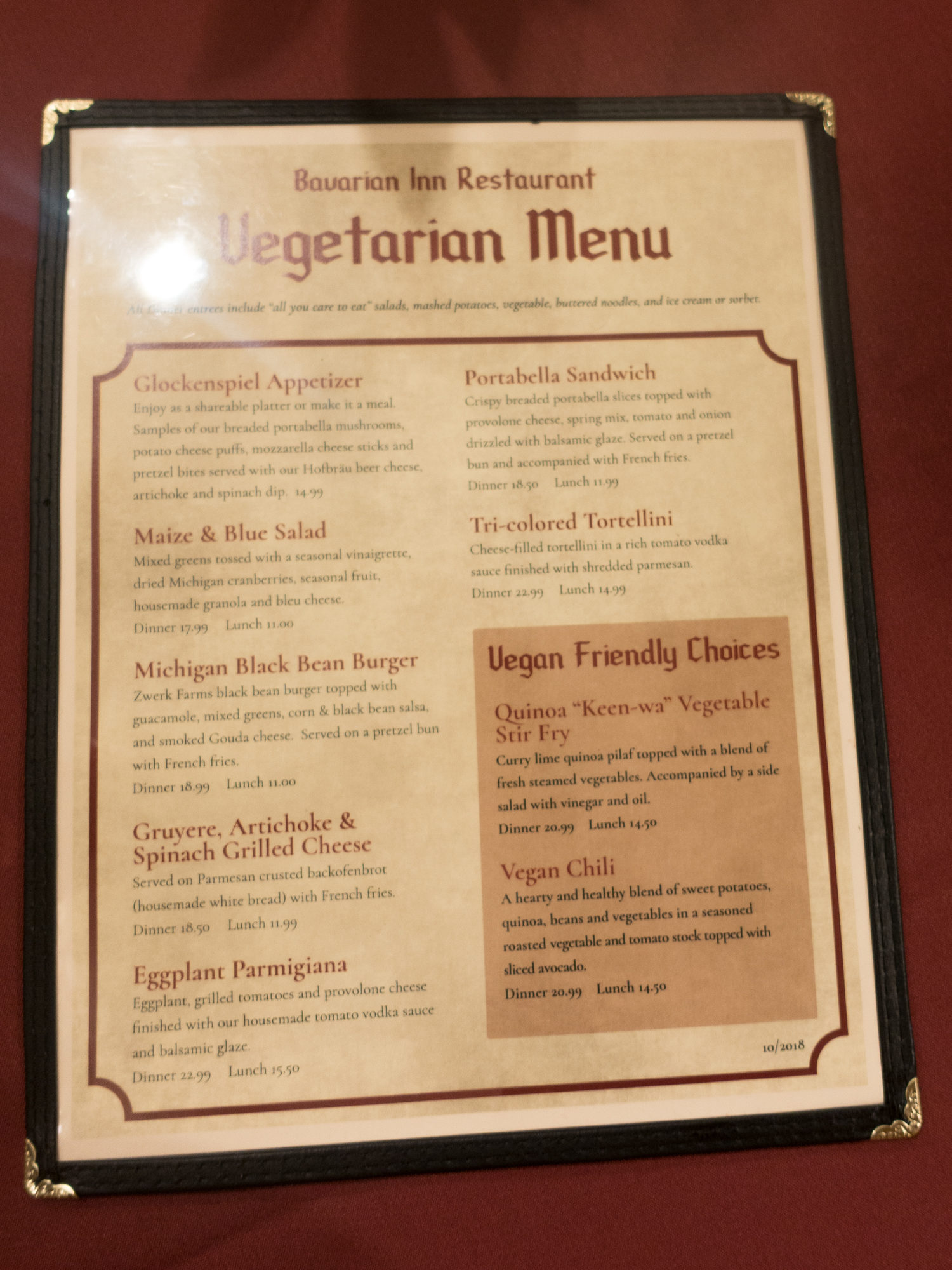 At the Bavarian Inn, they offer a separate vegetarian and vegan menu. There are two vegan options on the menu—a quinoa stir fry and vegan chili. I have had both, but I prefer the vegan chili. It is a little on the expensive side for the portion that you are served. You are really paying for the ambiance.