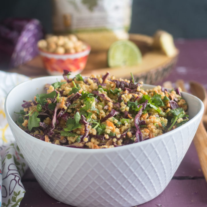The base of this Vegan Thai Peanut Millet Salad is cooled millet, shredded red cabbage, carrots, green onions, and cilantro. The millet bulks up the salad, adding fiber, B-complex vitamins, as well as several essential amino acids. #salad #vegan #food #healthy #healthyrecipes #glutenfree