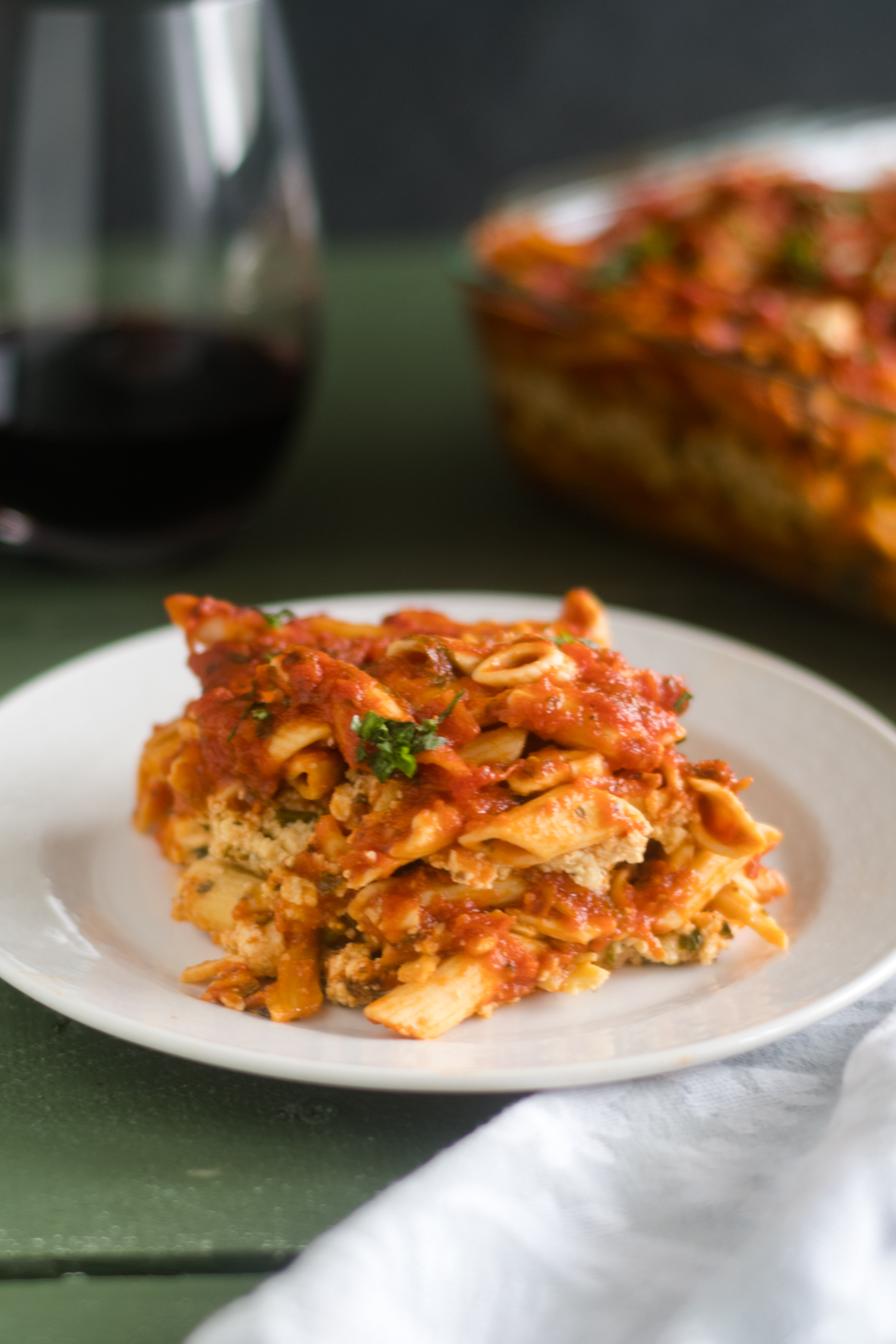 This Vegan Baked Pasta with Tofu Ricotta is perfect if you are looking for an easy, budget-friendly meal that is also delicious!#vegan #pasta #recipe #food #casserole #tofu #glutenfree #vegetarian