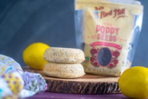 Vegan baked lemon poppy seed donuts