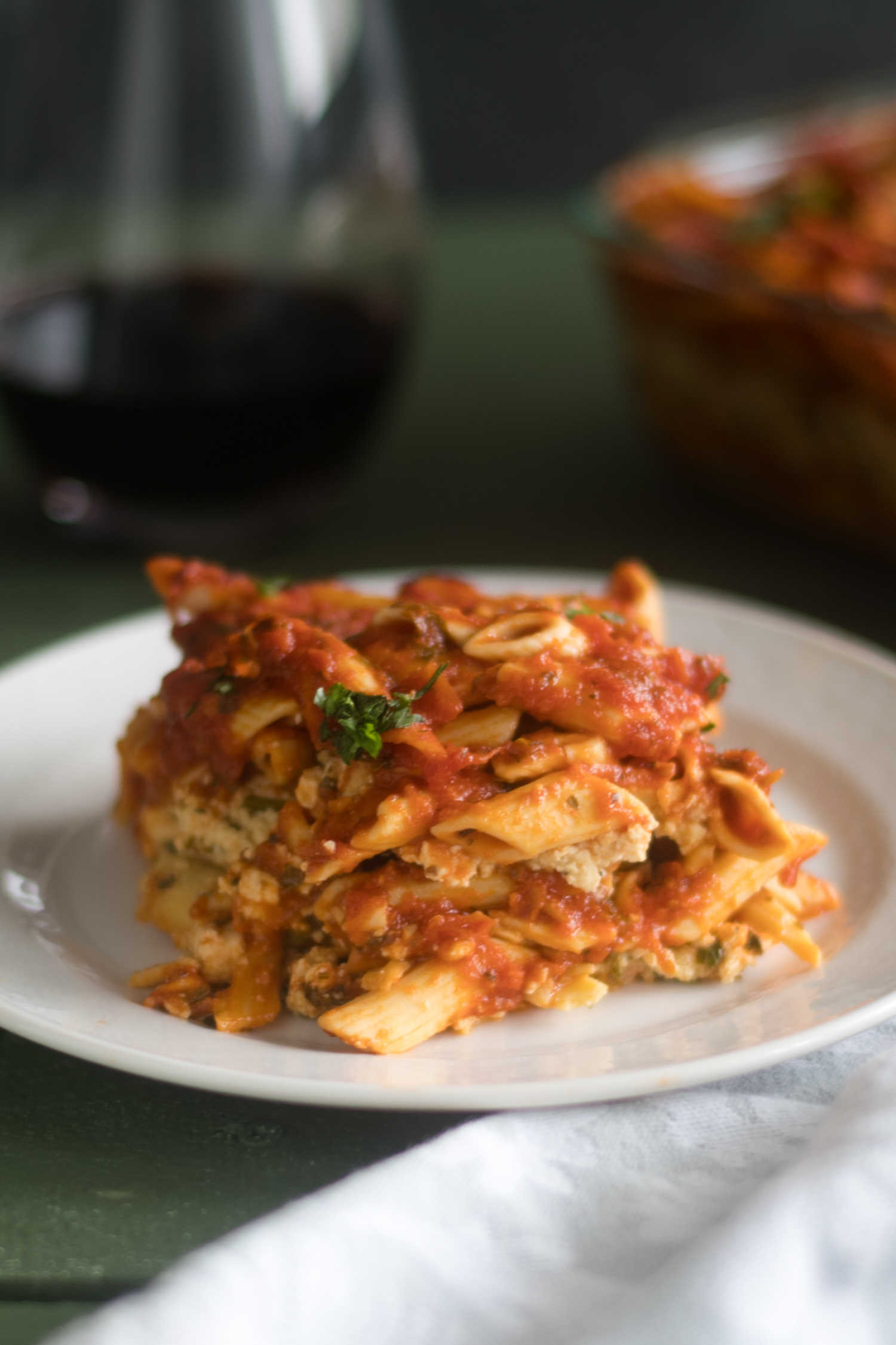 This Vegan Baked Pasta with Tofu Ricotta is perfect if you are looking for an easy, budget-friendly meal that is also delicious! #vegan #pasta #recipe #easyrecipes #food #vegetarian #casserole