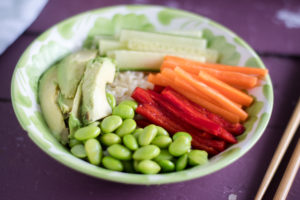 Vegan Sushi Bowls made with green tea rice. #vegan #rice #glutenfree #vegan #bowls #dairyfree #healthy #food #recipes