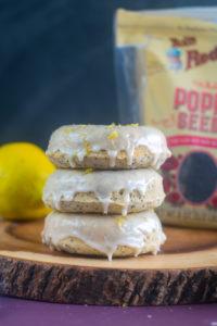Baked homemade vegan lemon poppy seed donuts are bursting with bright citrus flavor. #vegan #donuts #breakfast #dessert #lemon #recipes #spring