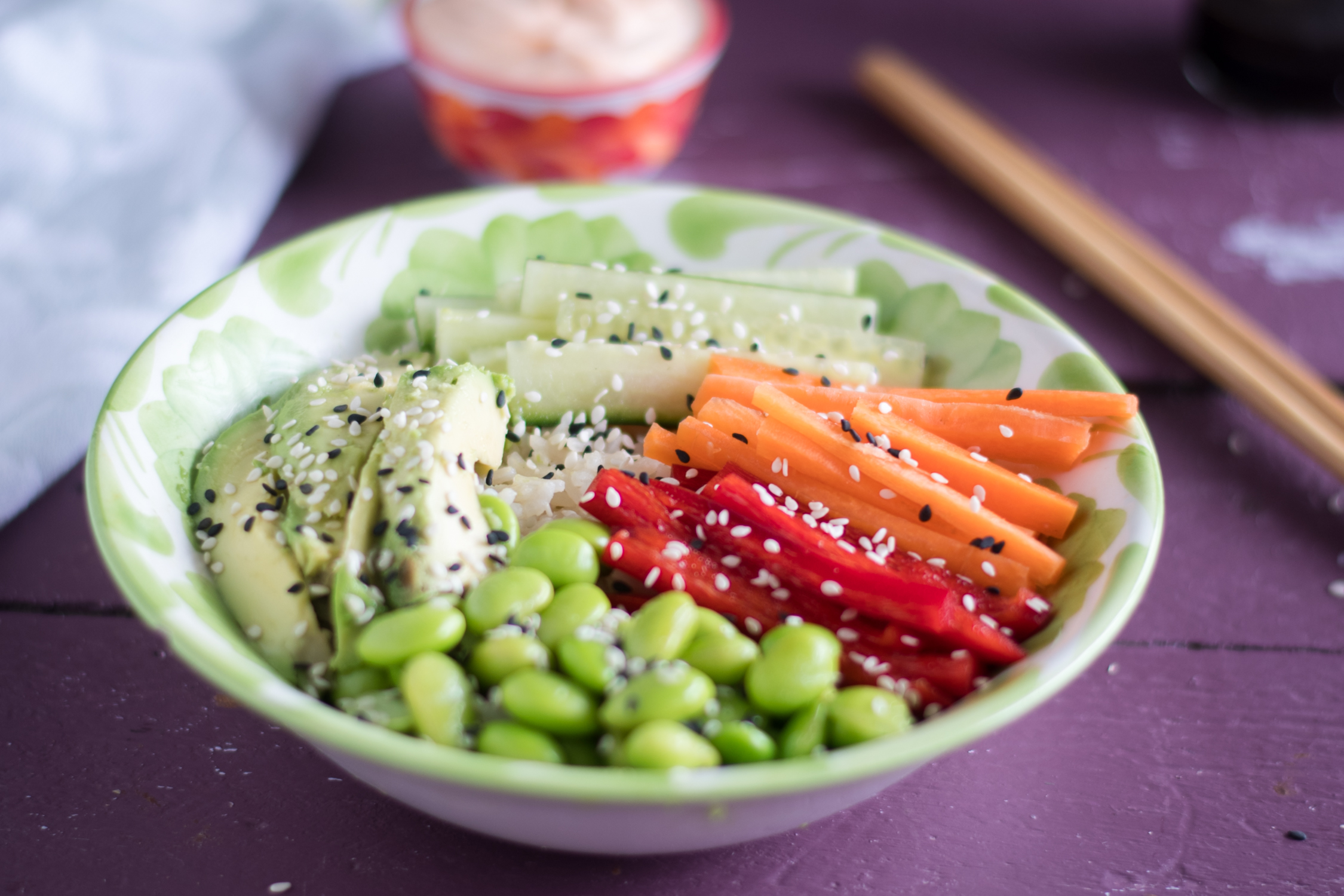 vegan sushi bowl with green tea rice