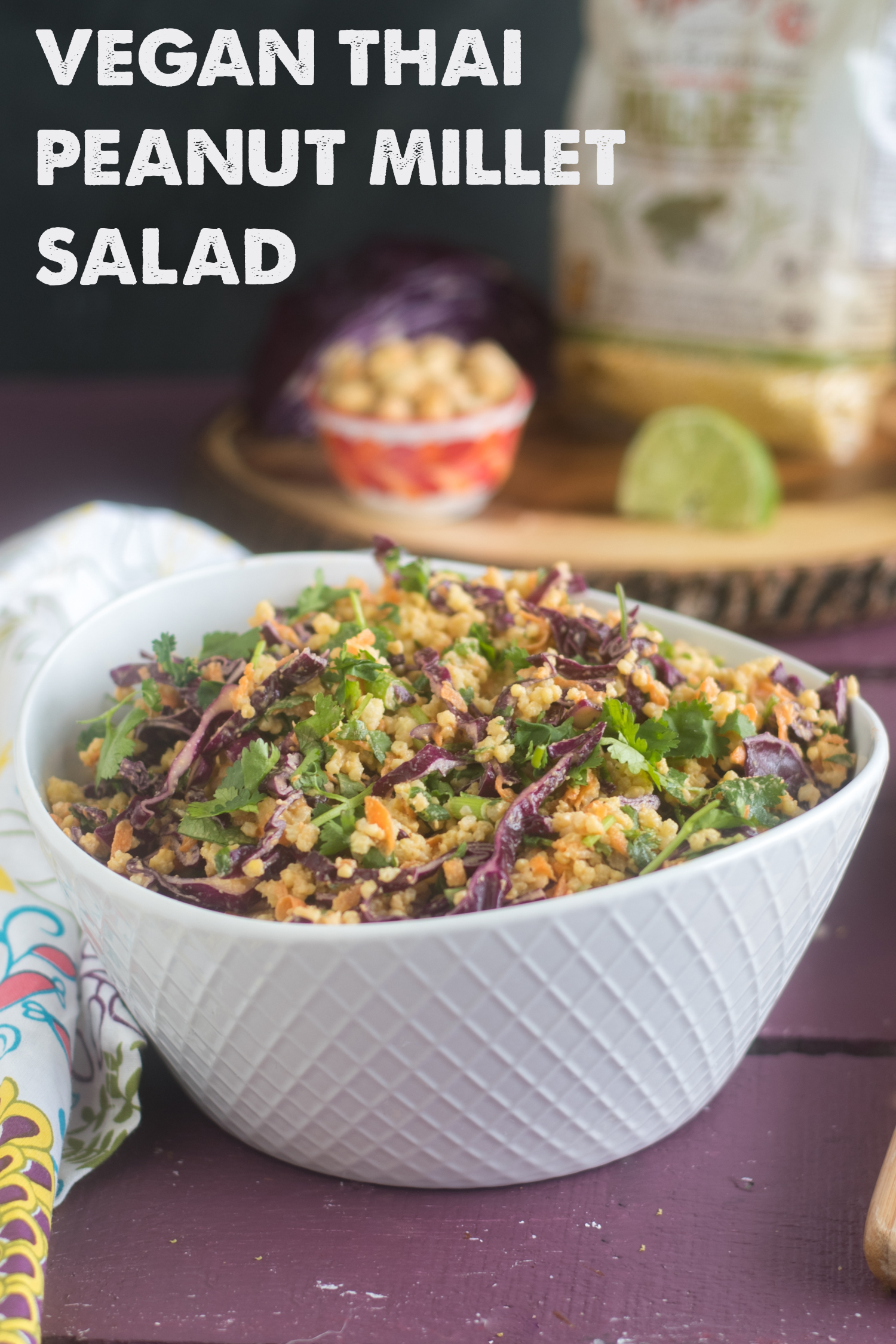 This Vegan Thai Peanut Millet Salad is fresh, budget-friendly, and loaded with nutrients and fiber. #healthy #food #healthyrecipes #vegan #glutenfree #dairyfree #vegan #veganrecipes