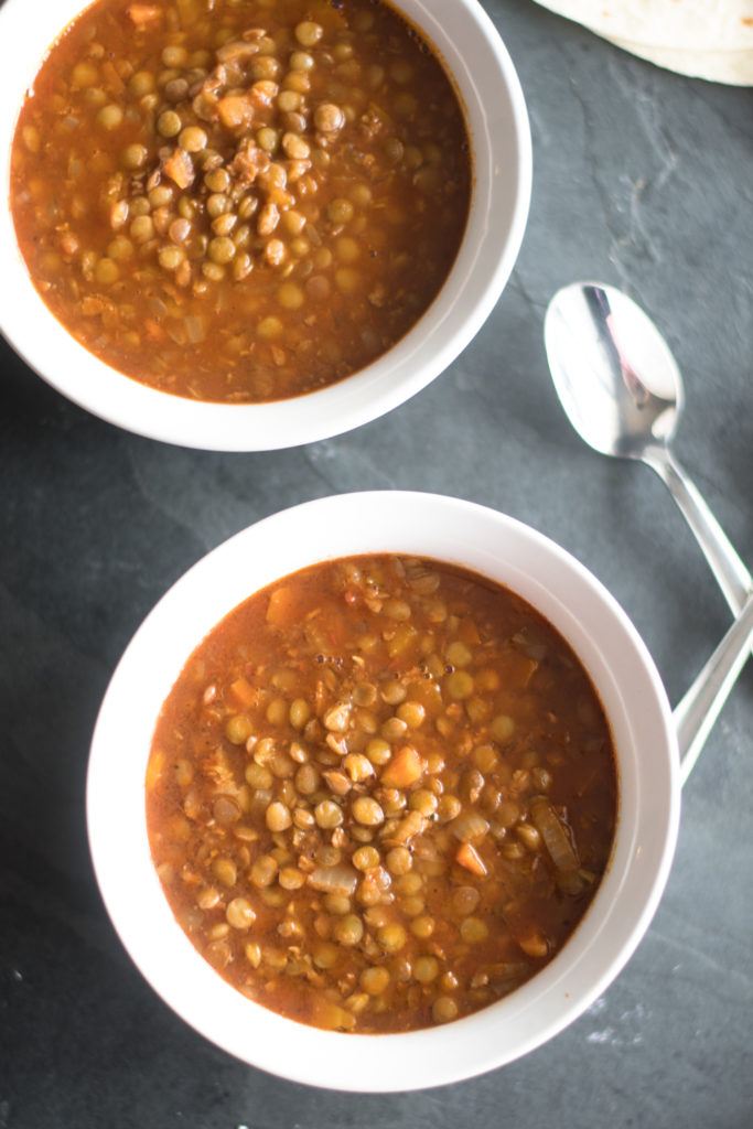 Vegan Mexican Lentil and Chorizo Soup
