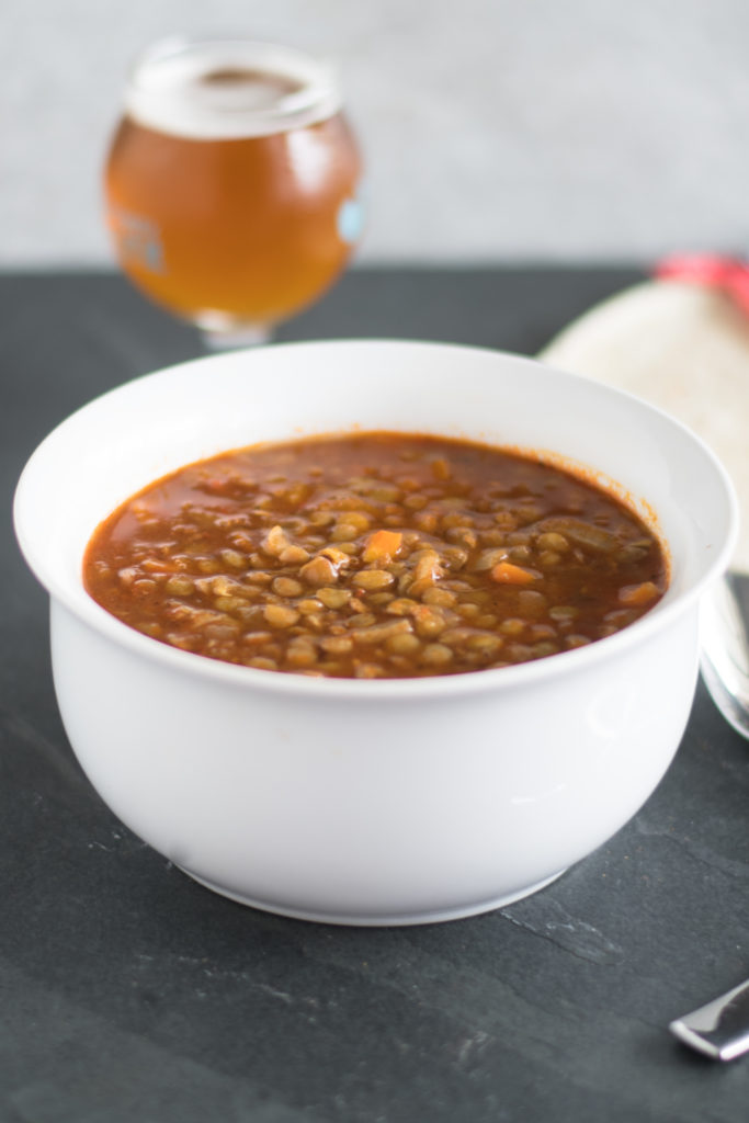 Vegan Lentil Soup with Chorizo is a hearty, healthy meatless recipe that is delicious! #vegan #soup #Mexican #Lentils