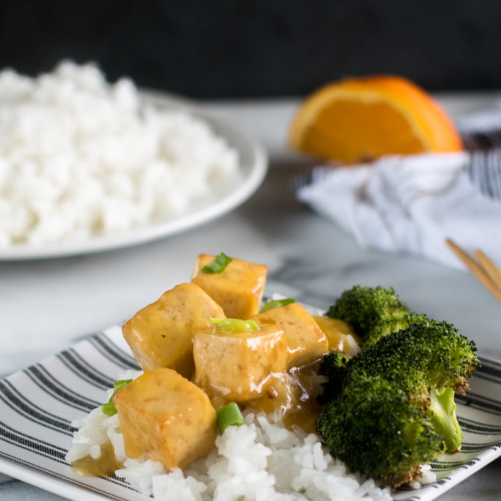 This easy and simple recipe for Vegan Orange Tofu is inspired by the popular Chinese dish. This vegan version is just as good as the original! This recipe is also gluten-free and oil-free! #vegan #recipes #oilfree #tofu #glutenfree #vegetarian