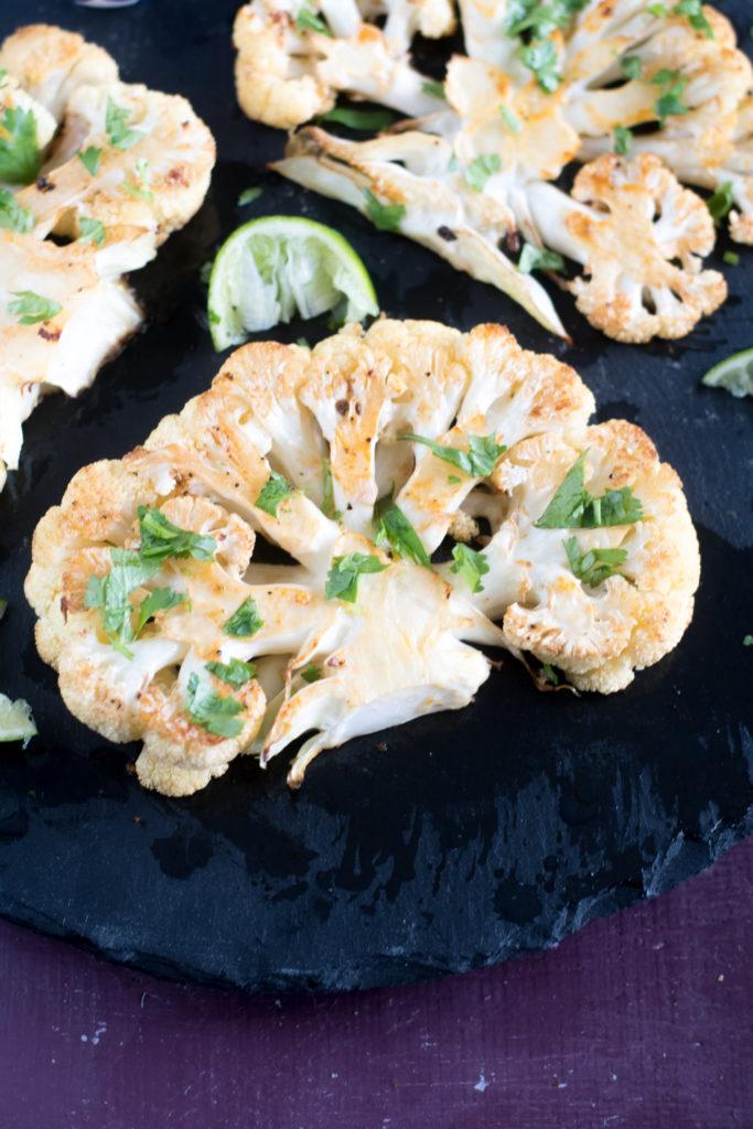 Switch up basic roasted cauliflower and make Chipotle Roasted Cauliflower Steaks!