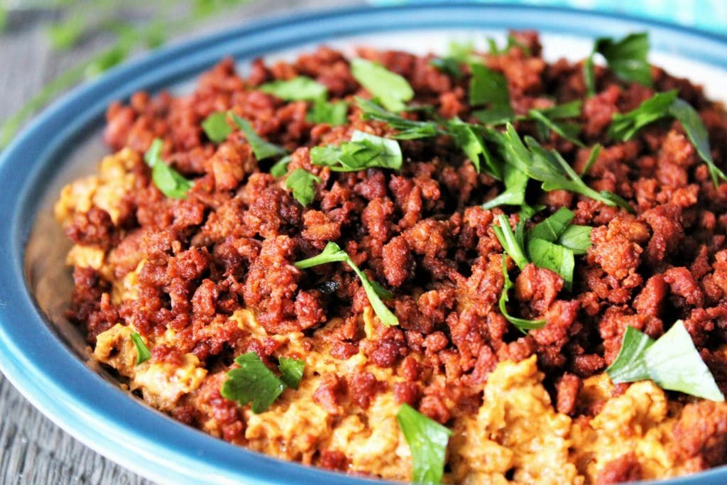 Vegan Soy Chorizo Dip with cream cheese.