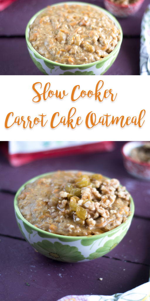 Start your morning off with a nutritious bowl of Slow Cooker Carrot Cake Oatmeal.  #vegan #breakfast #healthy #slowcooker #glutenfree #mealprep