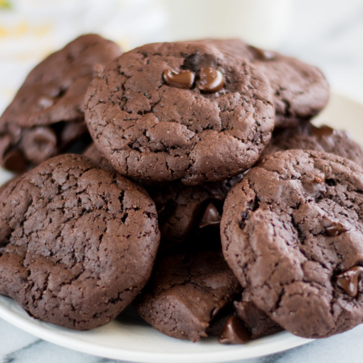 These Vegan Double Chocolate Cookies will satisfy any chocolate craving. They are fudgy, chewy, and easy to make!