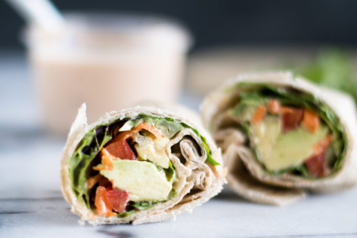 Easy Vegan Veggie Wraps with Chipotle Dressing