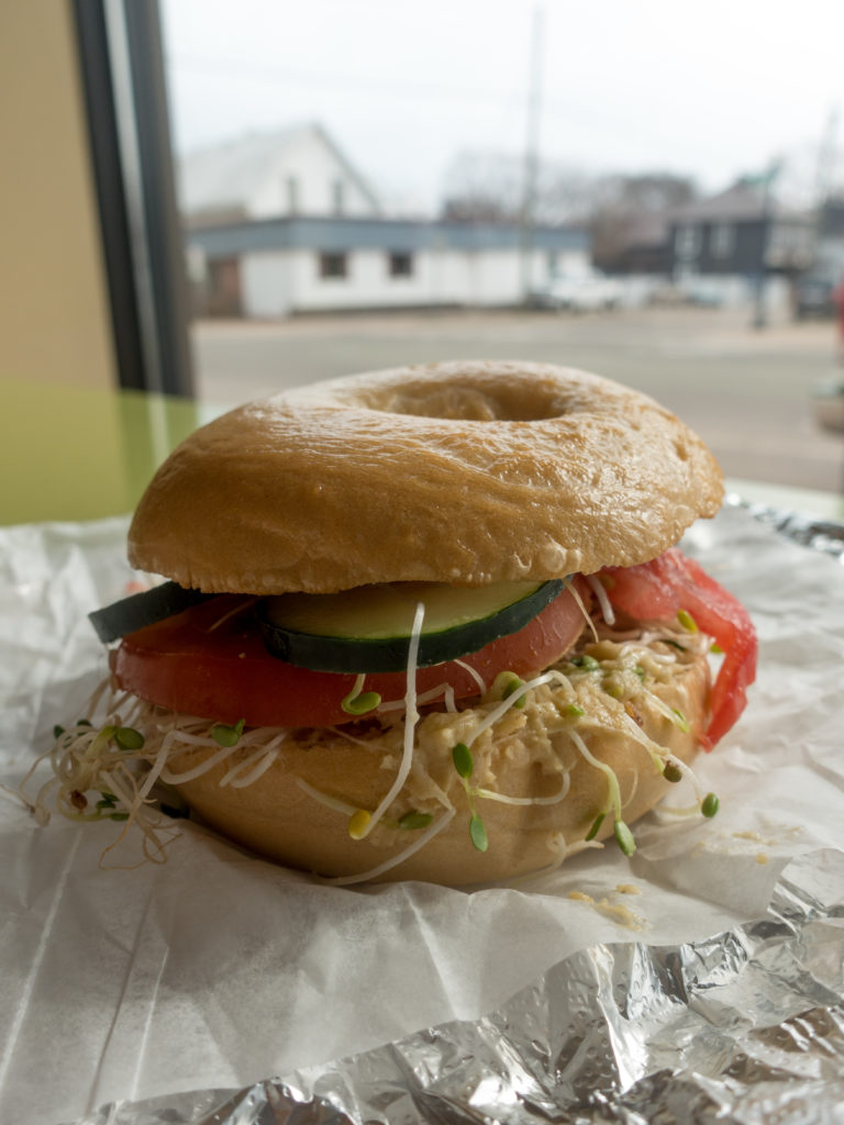 Vegan guide to Marquette, Michigan #vegan #travel #bagel #breakfast #sandwich #hummus