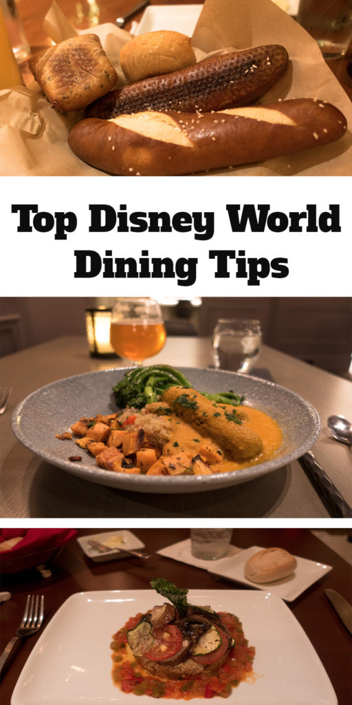 Planning a trip to Walt Disney World and not sure about how to go about dining? This list of my Top Disney World Dining Tips will give you some inside tips on how to plan for your Walt Disney World vacation. #disney #food #travel #Orlando #WaltDisneyWorld #DisneyWorld #Vegan #Planning #vacation #traveltips #travelguide