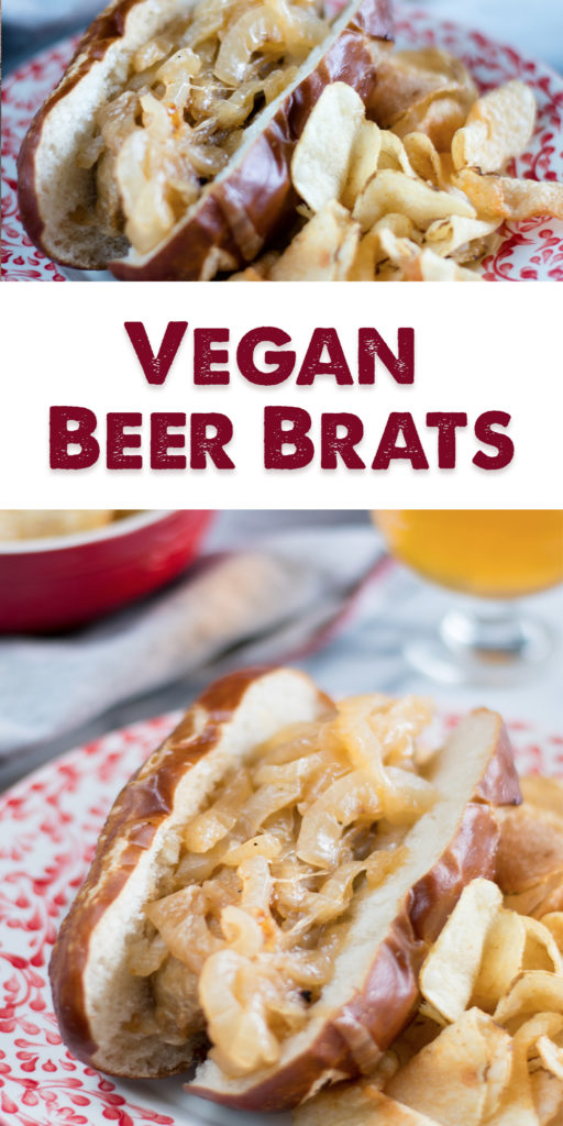 Nothing says summertime like a beer brat. Vegan Beer Brats are perfect for summer! Inspired by the Midwest beer brat, this recipe used Beyond Meat Brats.#vegan #summer #BBQ #recipes #veganrecipes #vegetarian #beer #brats