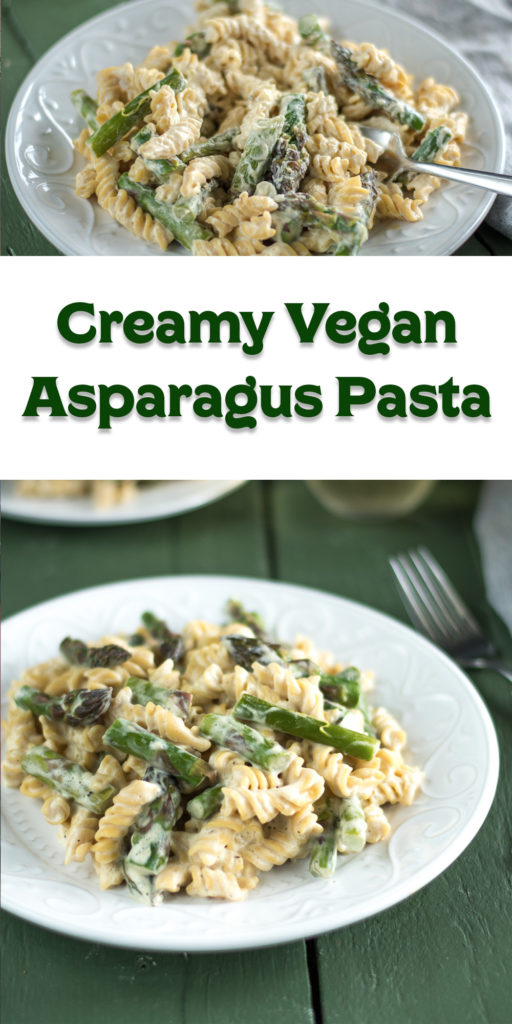 This rich creamy vegan asparagus pasta takes less than 30 minutes to cook! Perfect for when you're craving something a little more decedent for dinner. #vegan #pasta #dinner #asparagus #dairyfree #glutenfree #veganrecipes