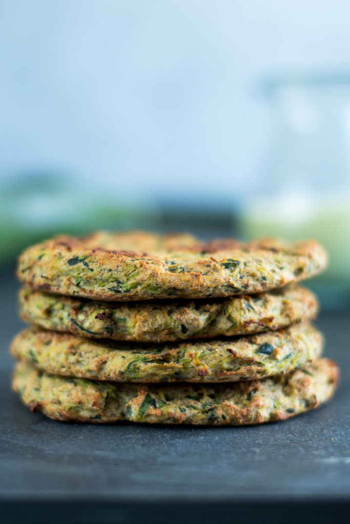 Quick and Crispy Zucchini Fritters with Avocado Crema