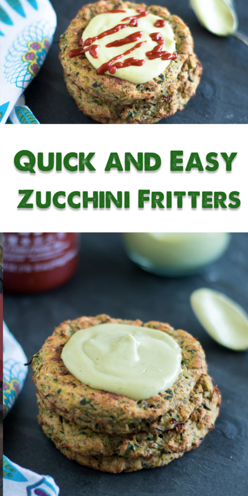 Vegan Zucchini Fritters topped with an avocado crema and sriracha! Perfect for an appetizer or light dinner. #vegan #appetizer #zucchini #summer #recipes #glutenfree #fritters #vegetarian