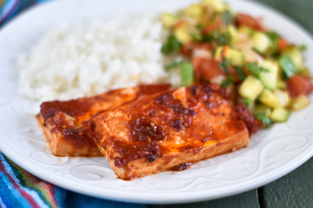 Baked tofu gets a spicy kick with chipotle peppers!