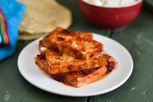 Tofu is baked in a chipotle pepper marinade that is just so good! #tofu #vegan #recipes