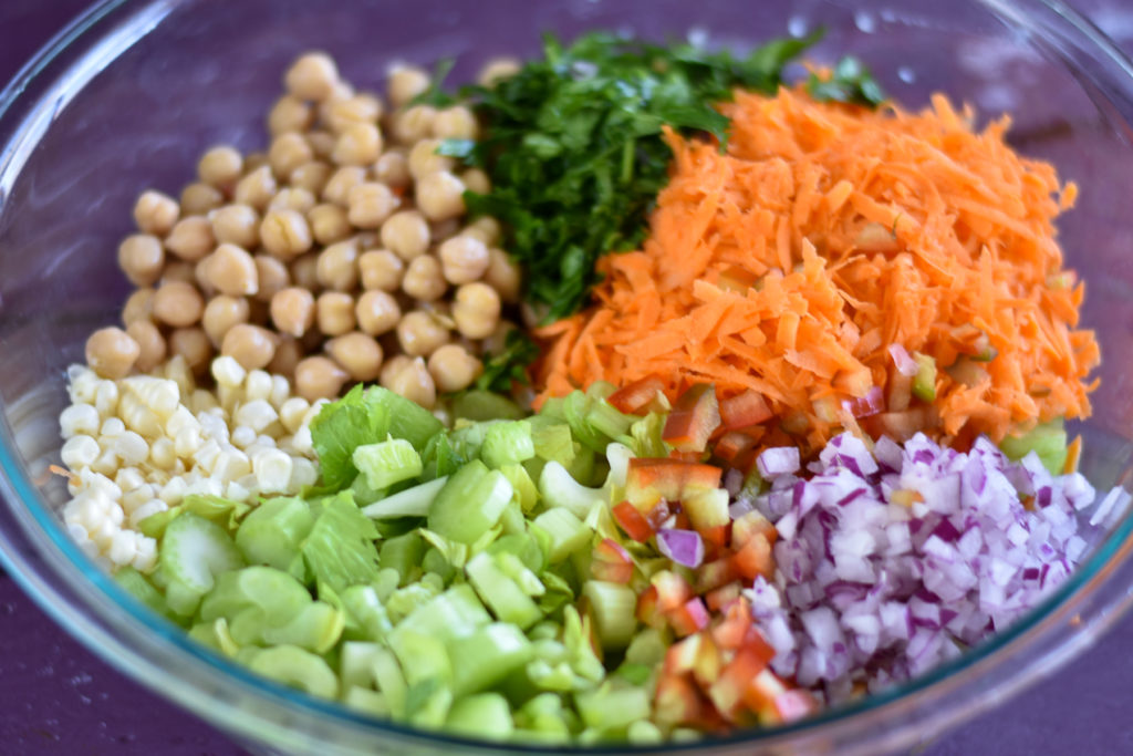 A healthy, protein packed salad that is  healthy, filling and good for you! #vegan #salad #chickpeas #celery #healthy #healthyfood #plantbased
