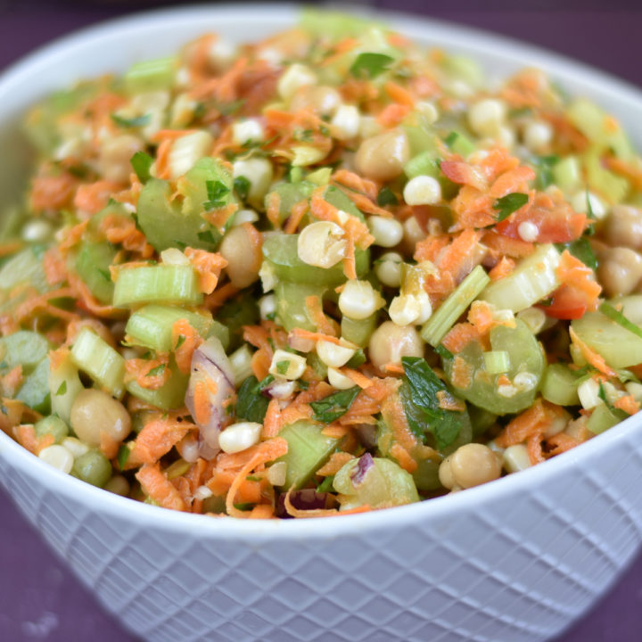 A healthy protein packed salad that is loaded with healthy nutrition. No more boring salads! #salad #chickpea #celery #plants #healthy #food #recipes #lunch #carrots #fit #fitfood #healthyfood