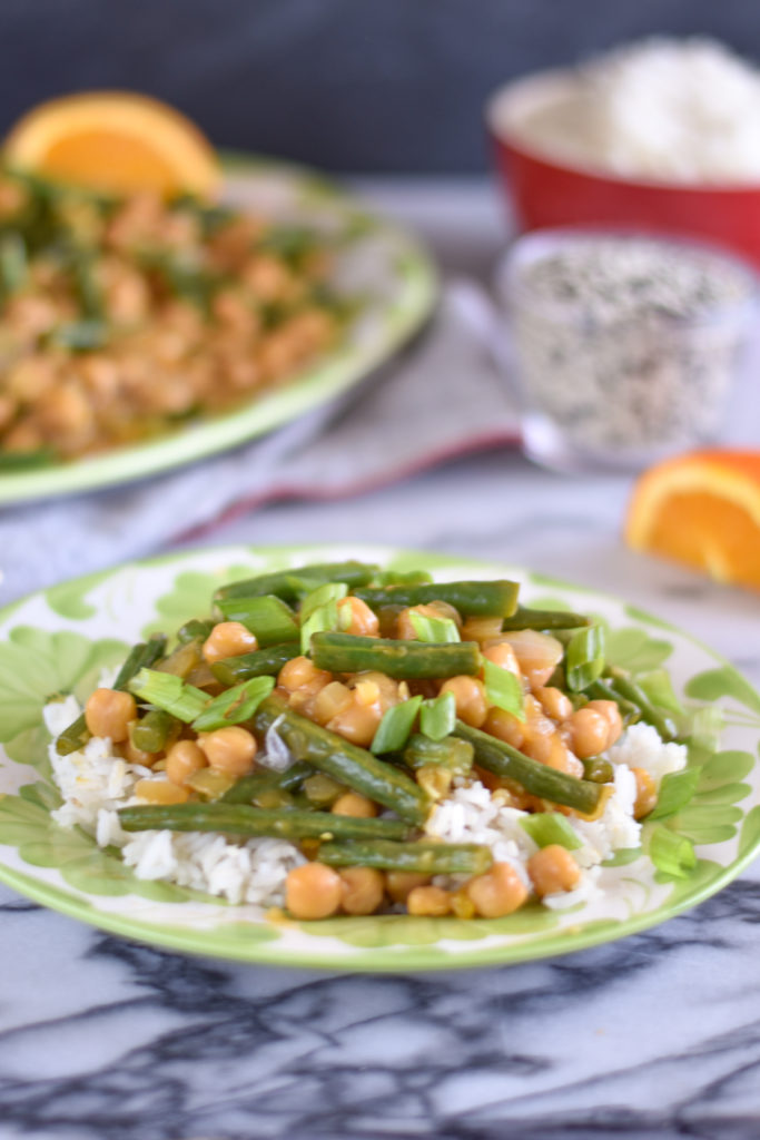Orange Chickpea Green Bean Stir Fry  is a great option when your craving take-out, but want to keep things on the healthier side!  #vegan #vegetarian #stiryfry #glutenfree #recipes #food #veganrecipes
