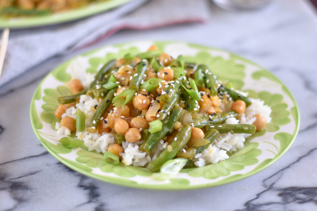 Orange Chickpea Green Bean Stir Fry  is a great option when your craving take-out, but want to keep things on the healthier side!