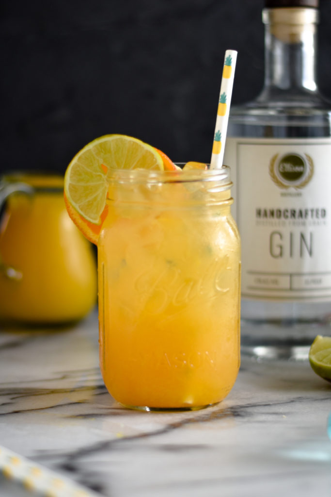 A tropical fruit punch cocktail with gin. Great on a warm, sunny day.