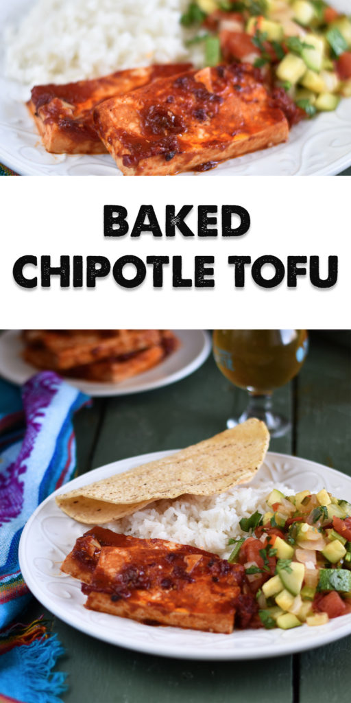 Looking to spice up basic tofu? Chipotle peppers add a spicy kick to plain tofu. Baked Chipotle Tofu is perfect for a main entree, used as a taco filling or on a sandwich! #vegan #tofu #recipes #Mexican #VeganMexican #vegetarian