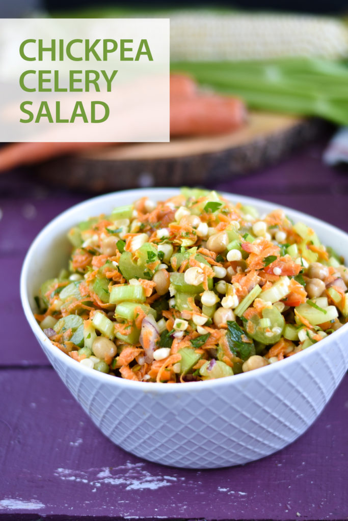 If you are tired of lettuce based salads, switch things up with this Chickpea Celery salad.  It's packed full of healthy vitamins and nutrition. Great for meal prepping too! #salad #chickpea #glutenfree #dairyfree #vegan #healthy #food #recipes #lunch #mealprep