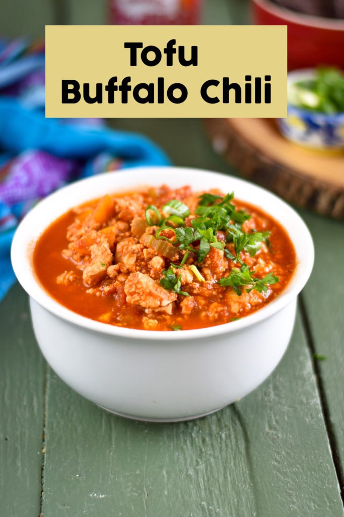 This Buffalo Tofu Chili is perfect for game day or for an easy weeknight dinner. This chili has the perfect balance of flavors and textures. It's sure to be a crowd pleaser! #vegan #chili #tofu #gameday #veganrecipes #vegetarian #dinner #recipes #easyrecipes #fall #fallfood #recipes