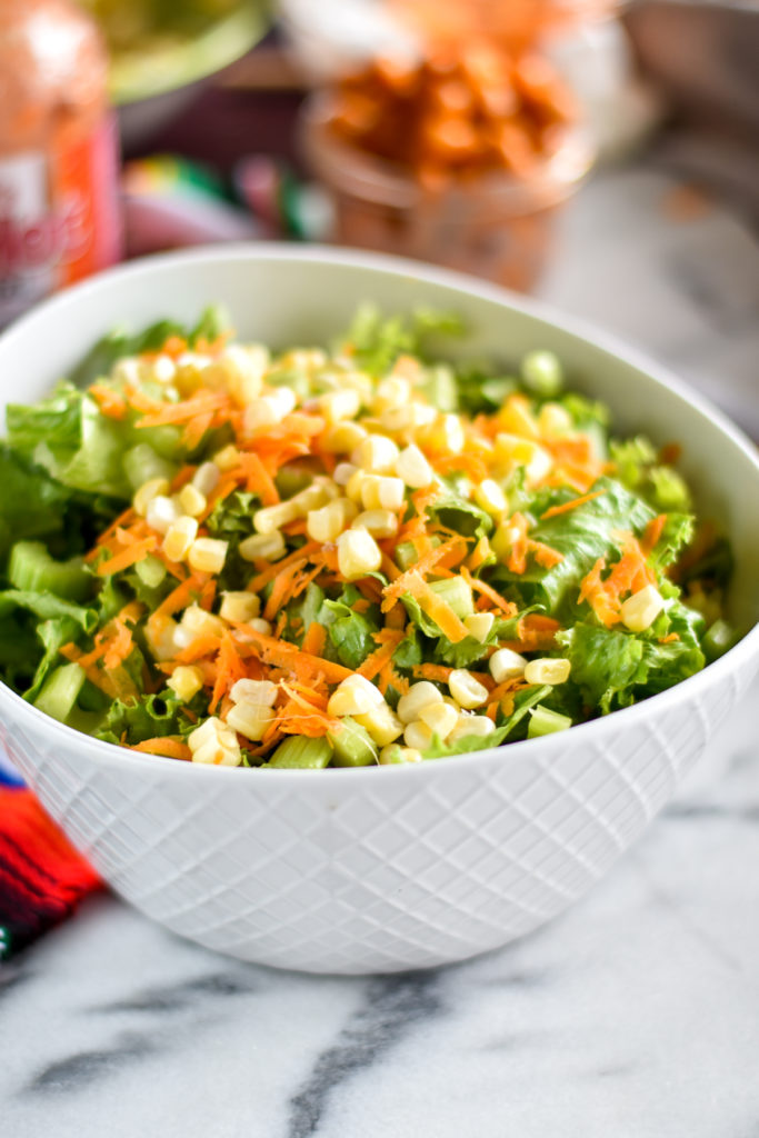 Healthy Vegan Buffalo Chickpea Salad with ranch dressing. #vegan #salad #recipes