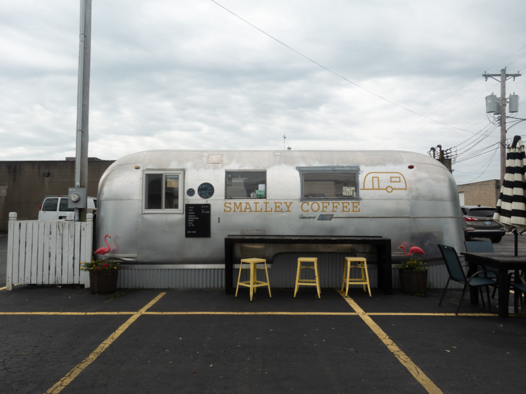 Start your morning off by grabbing a cup of coffee at Smalley Coffee. If I could a give a reward to the most unique coffee shop, it would have to go to Smalley Coffee—a coffee shop built inside a 1966 Airstream Overlander. #coffee #Indiana #travel #travelguide #Midwest