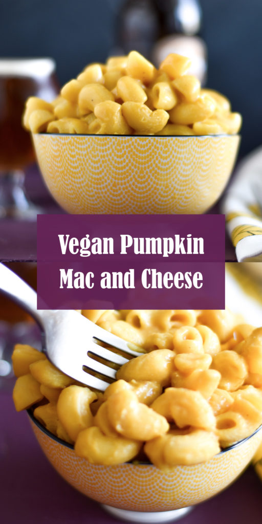 This easy vegan pumpkin mac and cheese recipe is made with creamy pure pumpkin puree and is the ultimate vegan pasta recipe for fall! #pumpkin #vegan #pasta #recipes #dairyfree #dinner #fall #thanksgiving #vegandinner #easyrecipes #sauce #fallfood #comfort #easyrecipes