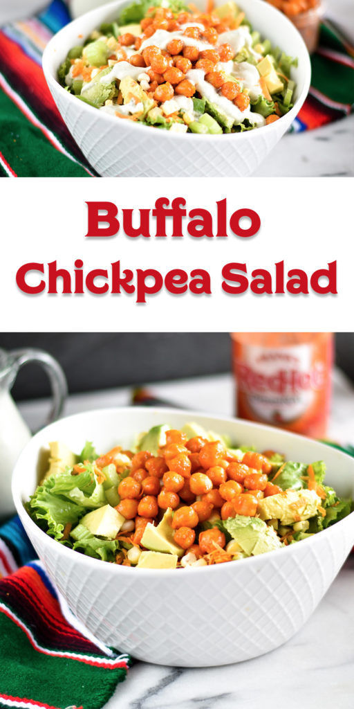 This Buffalo Chickpea Salad couldn't be easier to make! Chickpeas are simmered in buffao sauce. A protein packed vegan salad topped with homemade ranch. #vegan #salad #buffalo #easyrecipes #lunch #plantbased #ranch #glutenfree #dairyfree